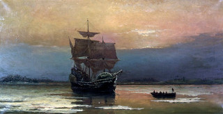Painting of The Mayflower in Plymouth Harbour by William Halsall