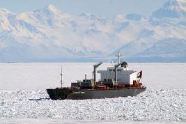 A ship in McMurdo Station, Antarctica