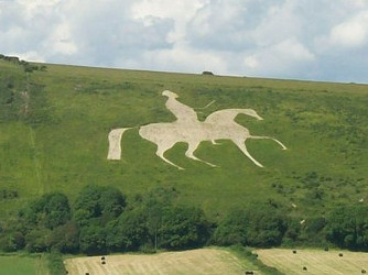 Osmington White Horse with King George III outside Weymouth